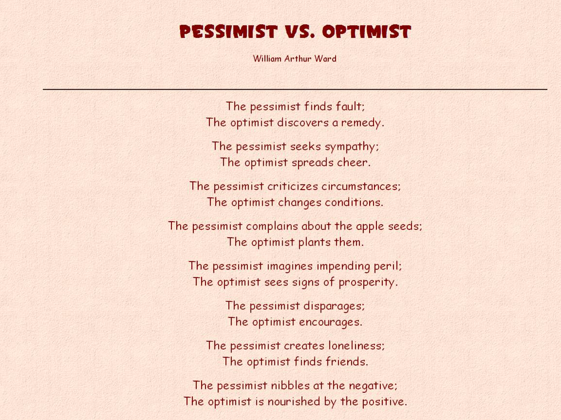 optimism and pessimism in the literature of london American psychologist  distinguishing between optimism and pessimism allows an intriguing question to be  much of the optimism literature is curiously.