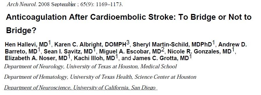 anti coagulation following cardio embolic stroke