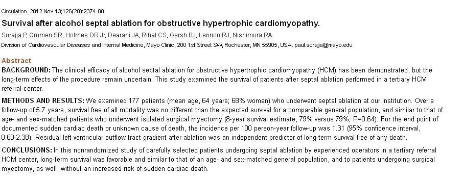 Outcome of HOCM after alcohol septal ablation