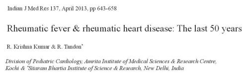 Review article rheumatic fever  Indian journal of medical research