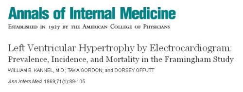 incidence of lV left ventricular hypertrophy framingham study