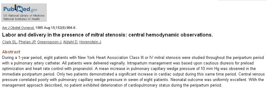 hemodynamics of labor in  mitral stenosis