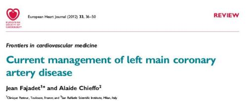 left main disease  coroanry angiogram management  Fajadet
