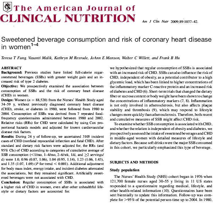 risk of soft drinks and coronary artery disease