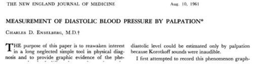measurement of diastolic blood pressure by palpation