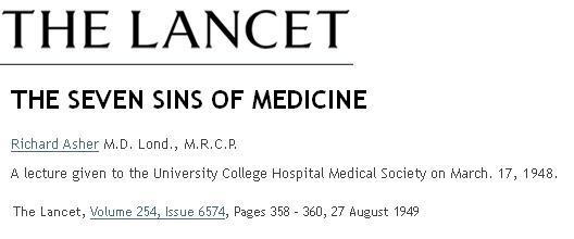 Seven sins of medicine lancet 1949