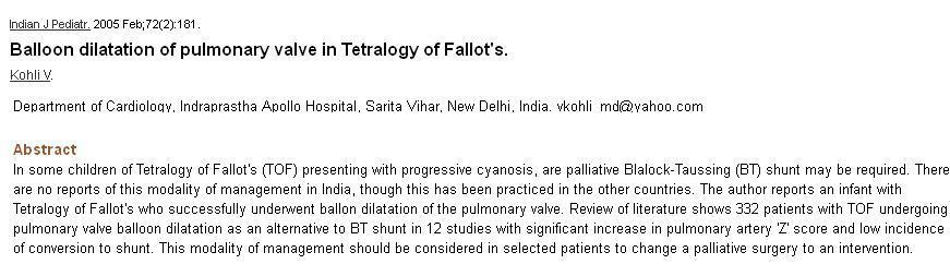 pulmonary valvotomy in tof tetrology 3