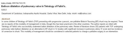 pulmonary valvotomy in tof tetrology 3