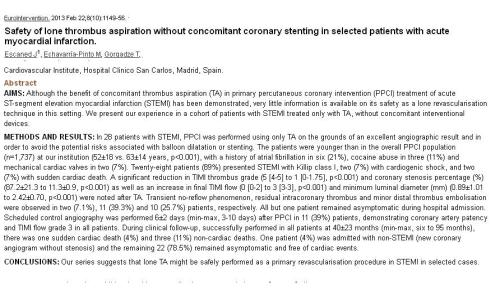 thrombus aspiration alone for stemi no stent priamry poba