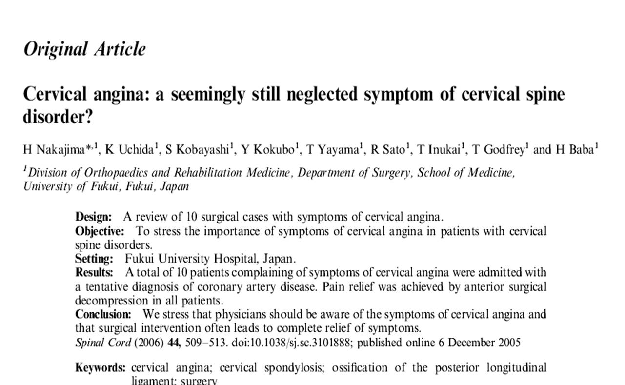 cervical angina  reverse referral pain