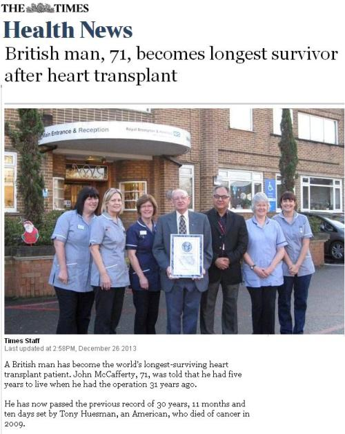 longest survival after heart transplanation